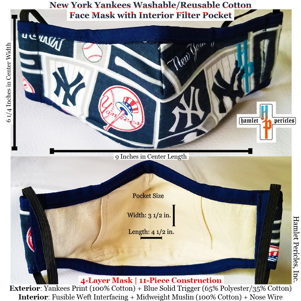 New York Yankees Face Masks W Interior Filter Pocket Etsy In 2020 Face Mask New York Yankees Yankees