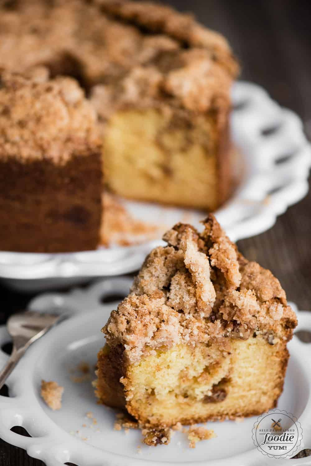 Sour Cream Coffee Cake With A Sweet And Crunchy Streusel Topping And A Cinnamon Sugar Laye Coffee Cake Recipes Sour Cream Coffee Cake Coffee Cake Recipe Bundt