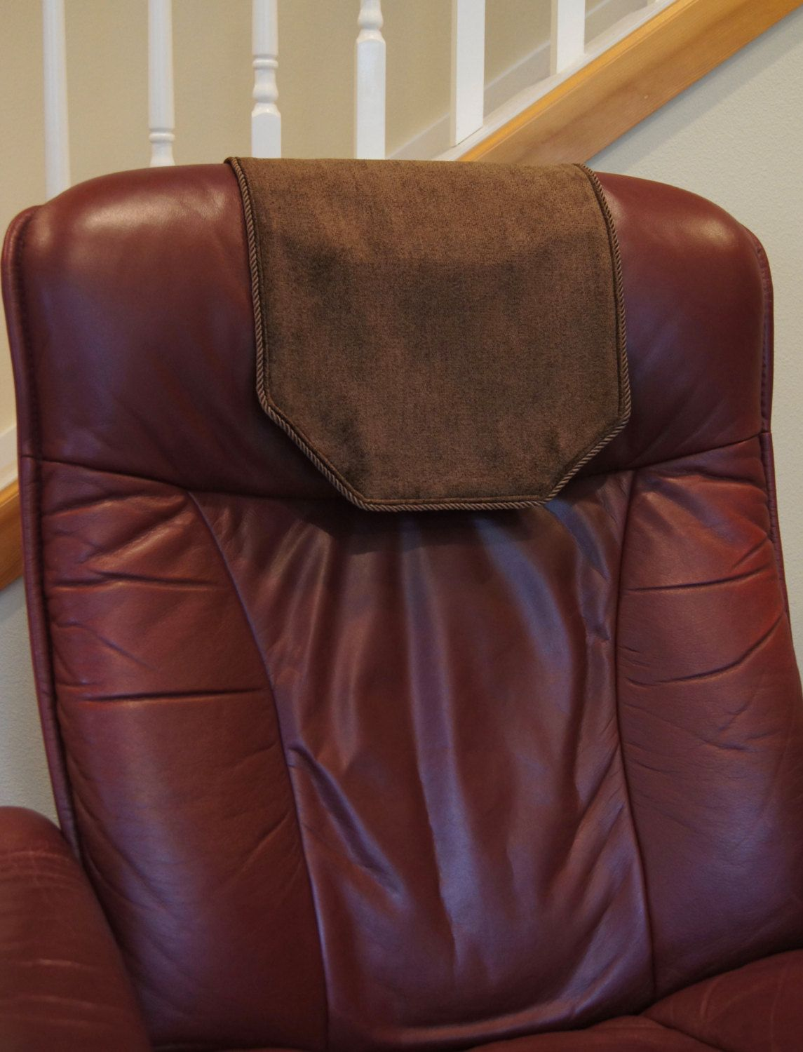 Recliner Chair Headrest Cover Chocolate Brown Recliner Cover Leather Recliner Chair Leather Chair