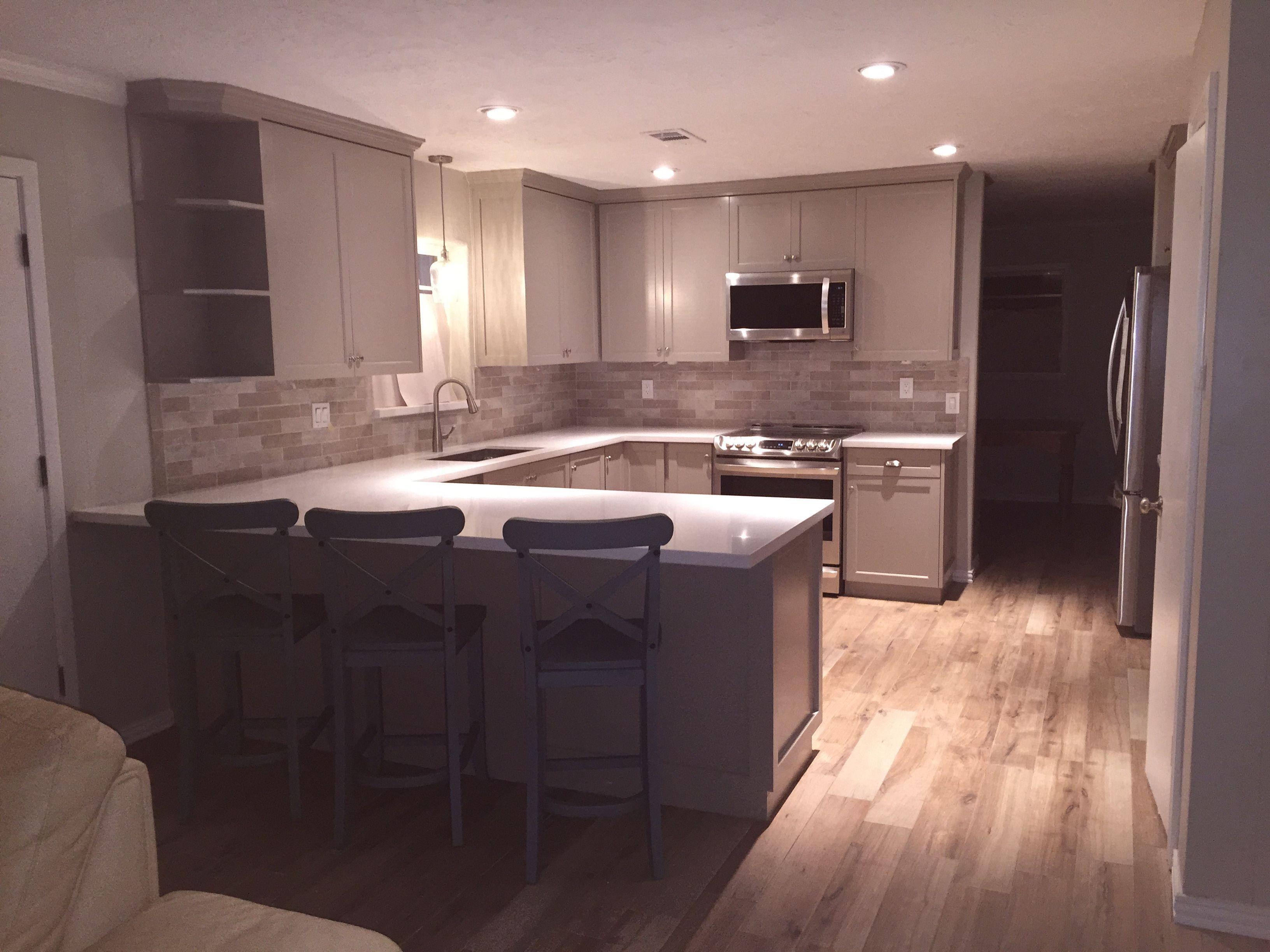 Mega Greige Kitchen With Wood Look Tile Floors Wood Look Tile Floor Greige Kitchen Wood Look Tile