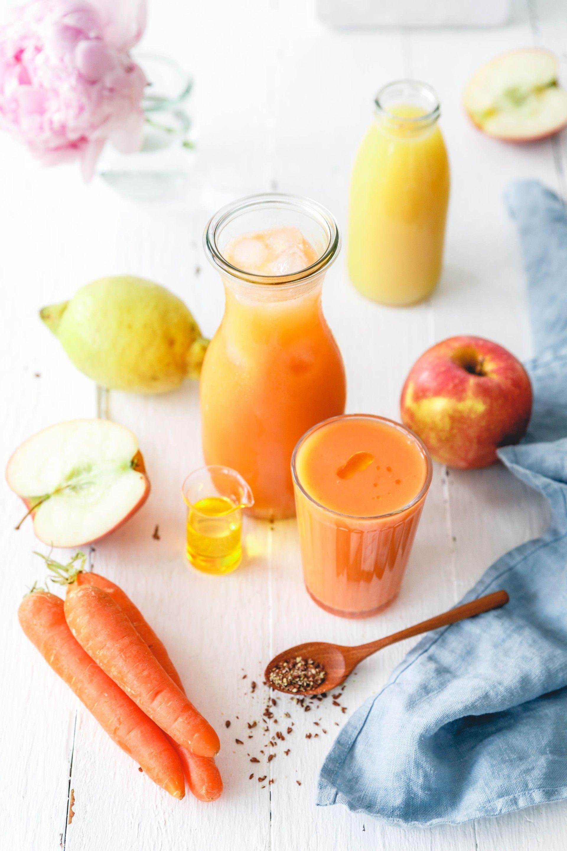 Leckerer Frühstückssmoothie mit Apfel, Karotte & Orangensaft {5 a day} · Eat this! Foodblog • Vegane Rezepte • Stories