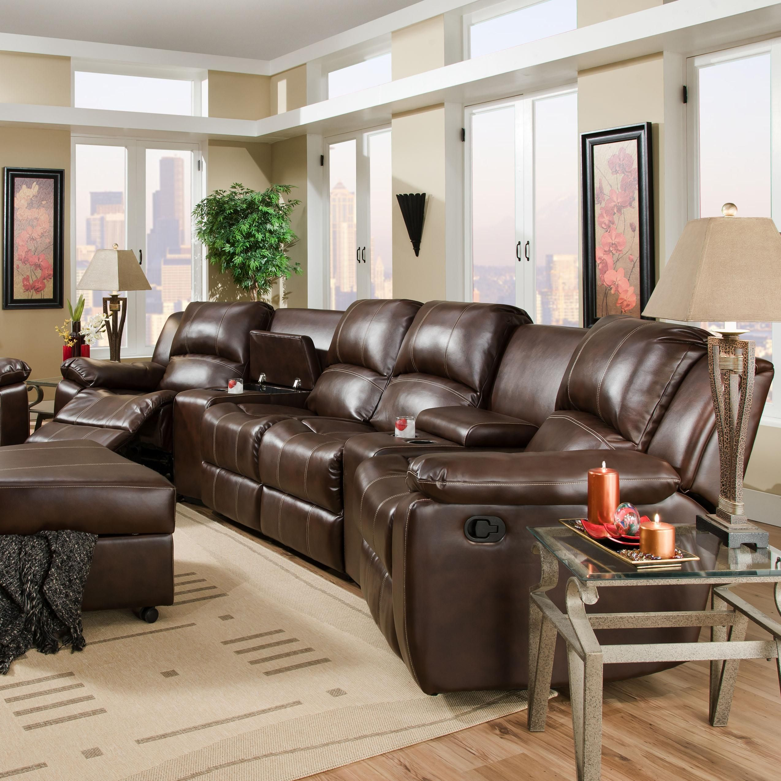 882 Oasis Chestnut Reclining Sectional by Corinthian