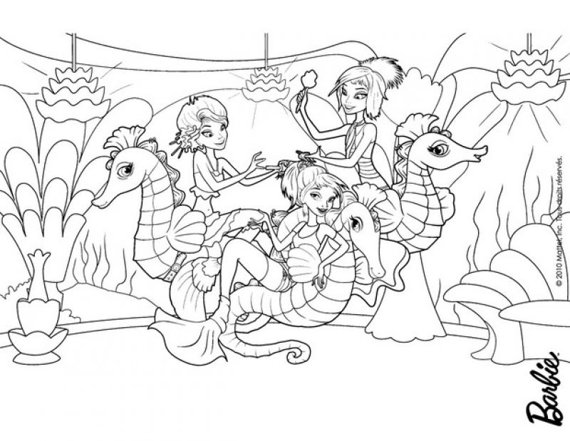 a family of mermaids and seahorses coloring pages for kids