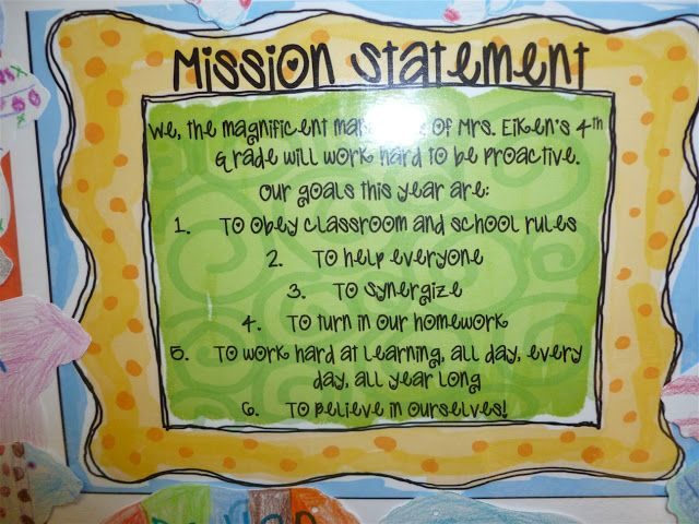 4th Grade Frolic Mission Statement Classroom Example Personal Of 7 Habits