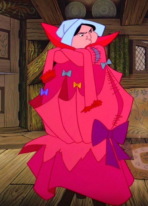 Merryweather in Briar Rose's/Aurora's hideous dress. This is a pretty accurate representation of my facial expression when I'm told to do housework. :D