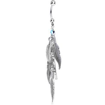 Feathers Dangle Belly Ring Created with Swarovski Crystals Cascading Feathers Dangle Belly Ring MADE WITH SWAROVSKI ELEMENTS | Body Candy Body JewelryCascading Feathers Dangle Belly Ring MADE WITH SWAROVSKI ELEMENTS | Body Candy Body Jewelry