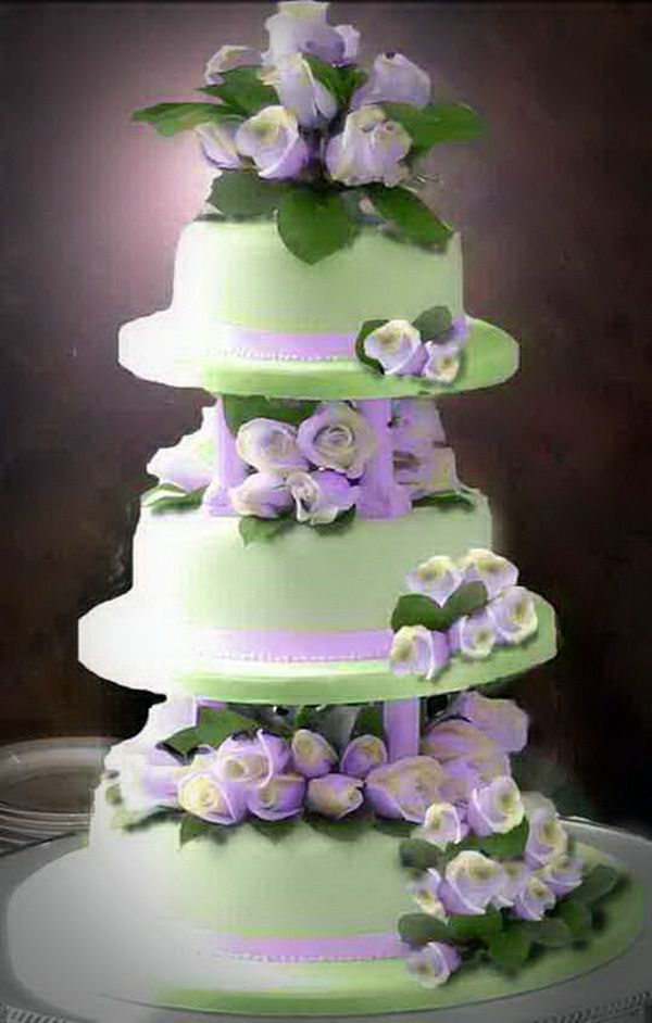Cake Wedding With Green Purple Flowers Motif Pictures Wedding