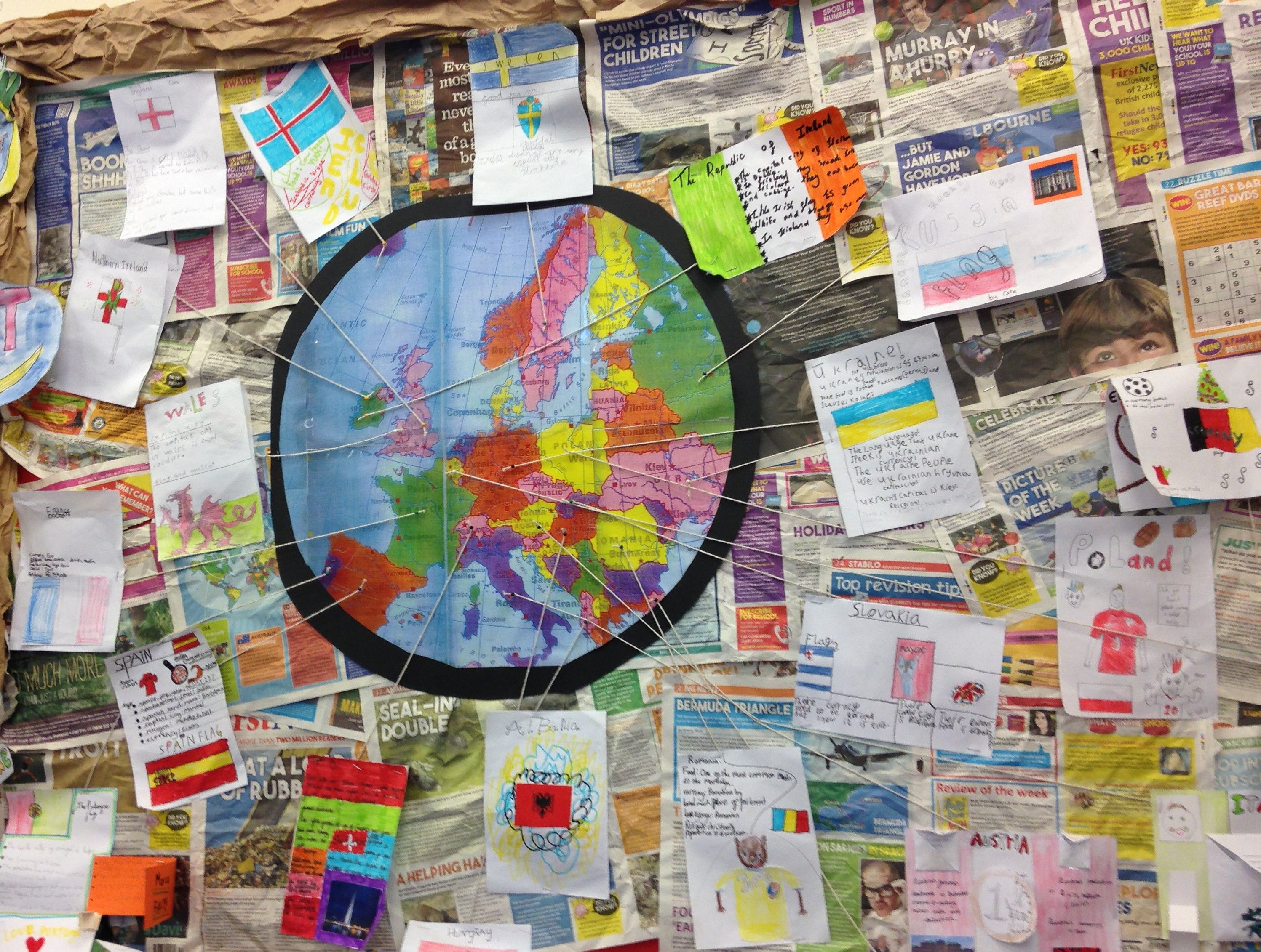 ks2 topic geography children researched a different european country and made a poster about each one pinned it to the map to show where their country