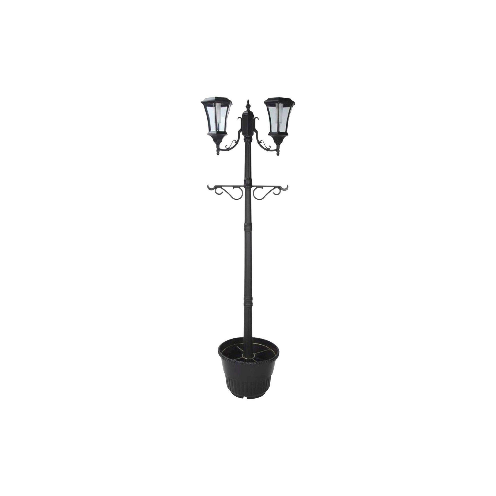 Sun Ray J J Global Martens Two Head Solar Lamp Post And Planter