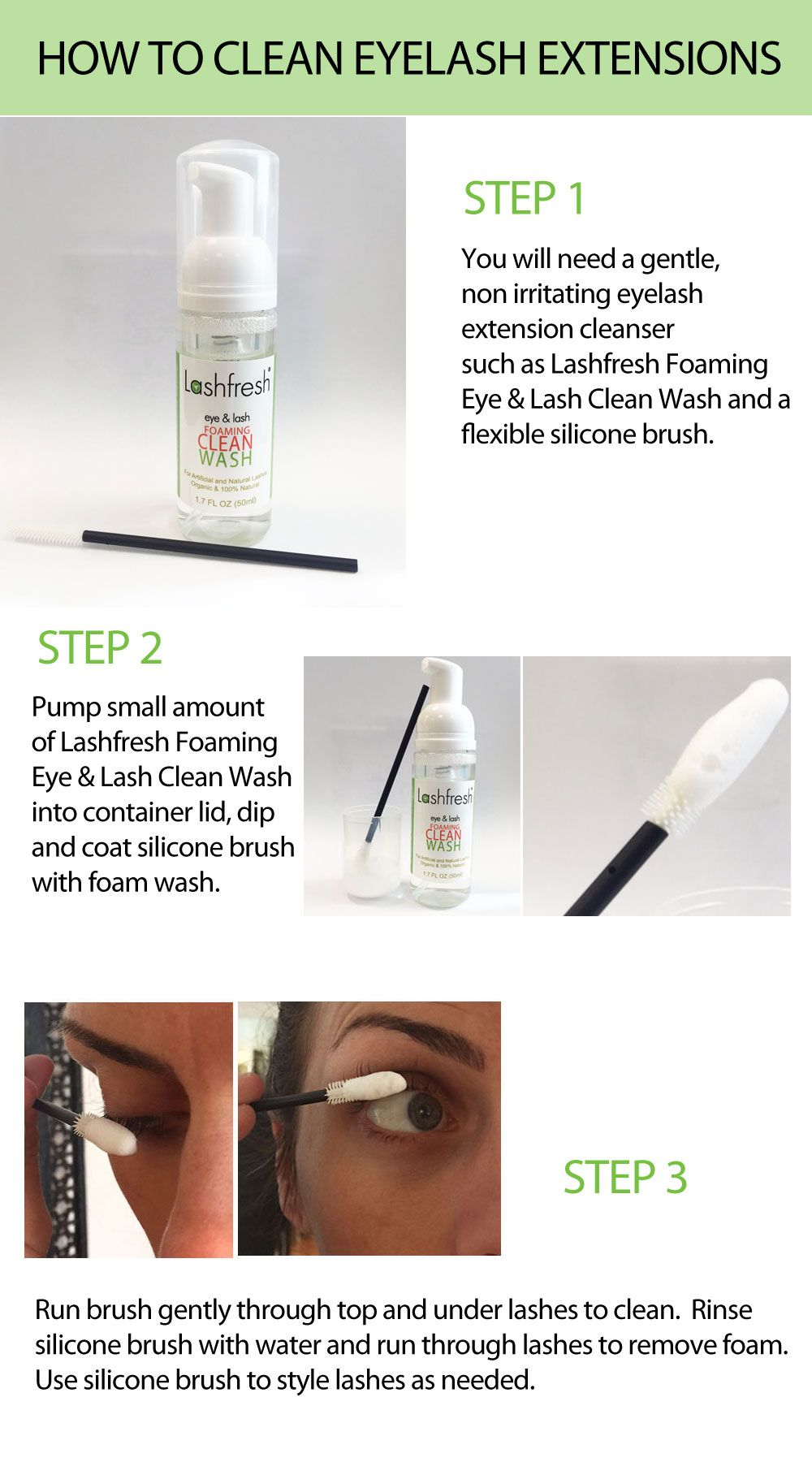 How To Clean Your Lashes With Lashfresh Foam Wash How To Clean Eyelashes Eyelash Extensions Cleaning Eyelash Extensions