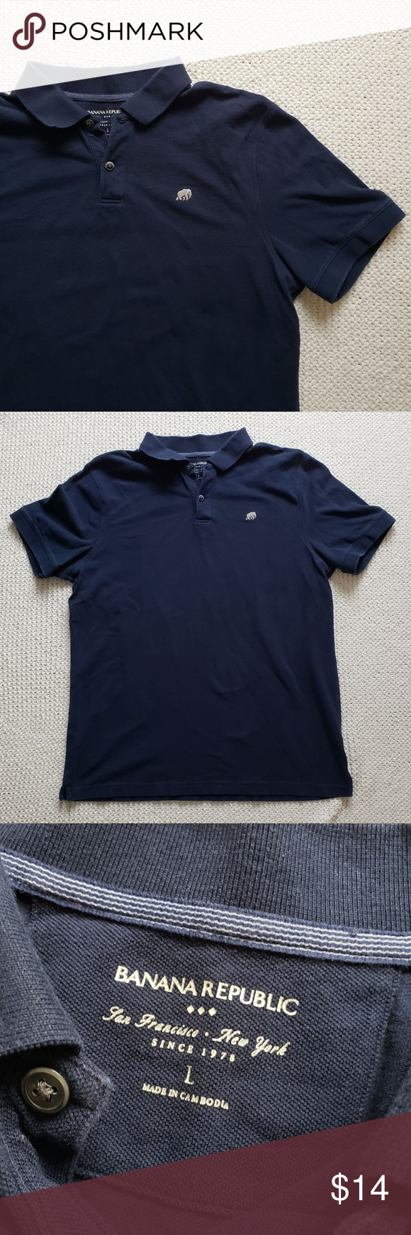 b895e5a5c Banana Republic Navy Pique Polo Banana Republic Factory classic navy pique  polo. Small side slits and elephant embroidered emblem.