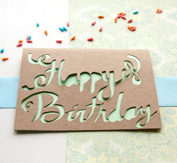 Happy birthday calligraphy paper cut greeting card by