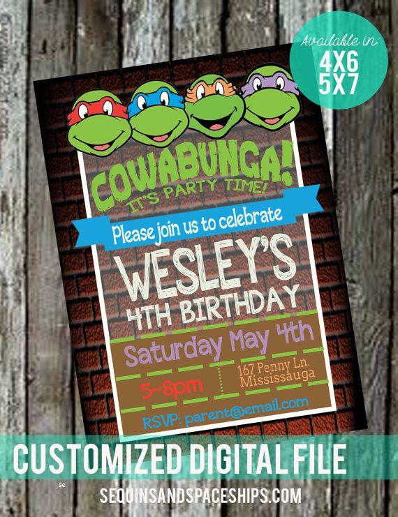 Ninja Turtles Invitation Tmnt Invitation Diy Printable Boys