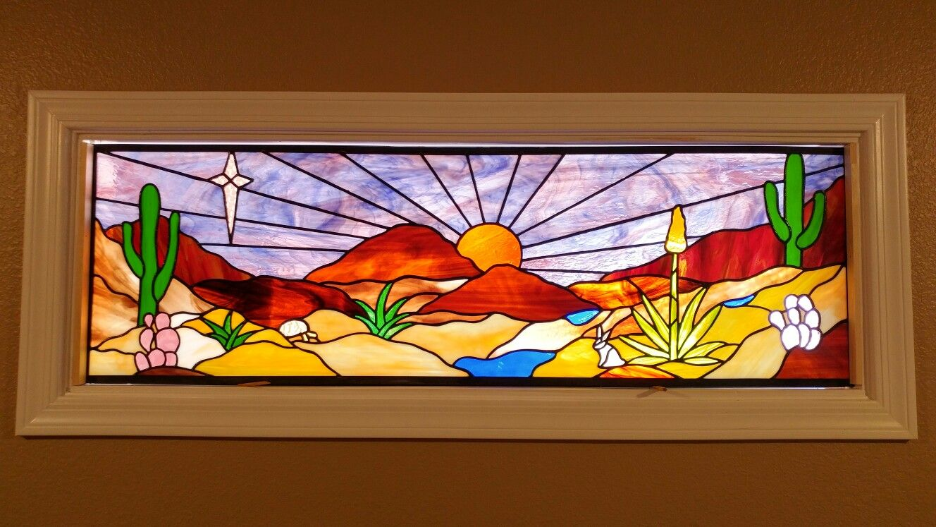 Stained Glass Desert Scene I Created For Friends In Kingman Az