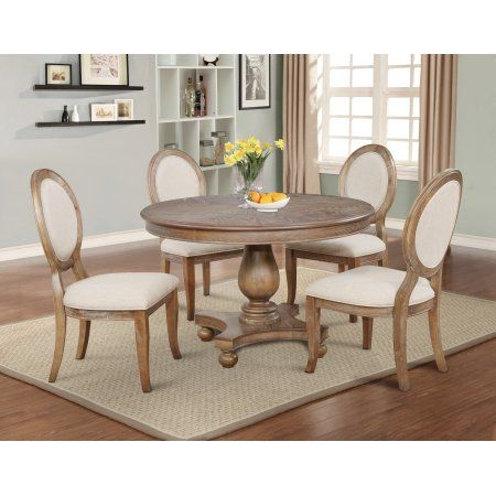 Powell Lenoir 5 Piece Dining Table Set Wirebrushed Oak Walmart Com Cottage Dining Rooms Dining Table In Kitchen Dining Room Table
