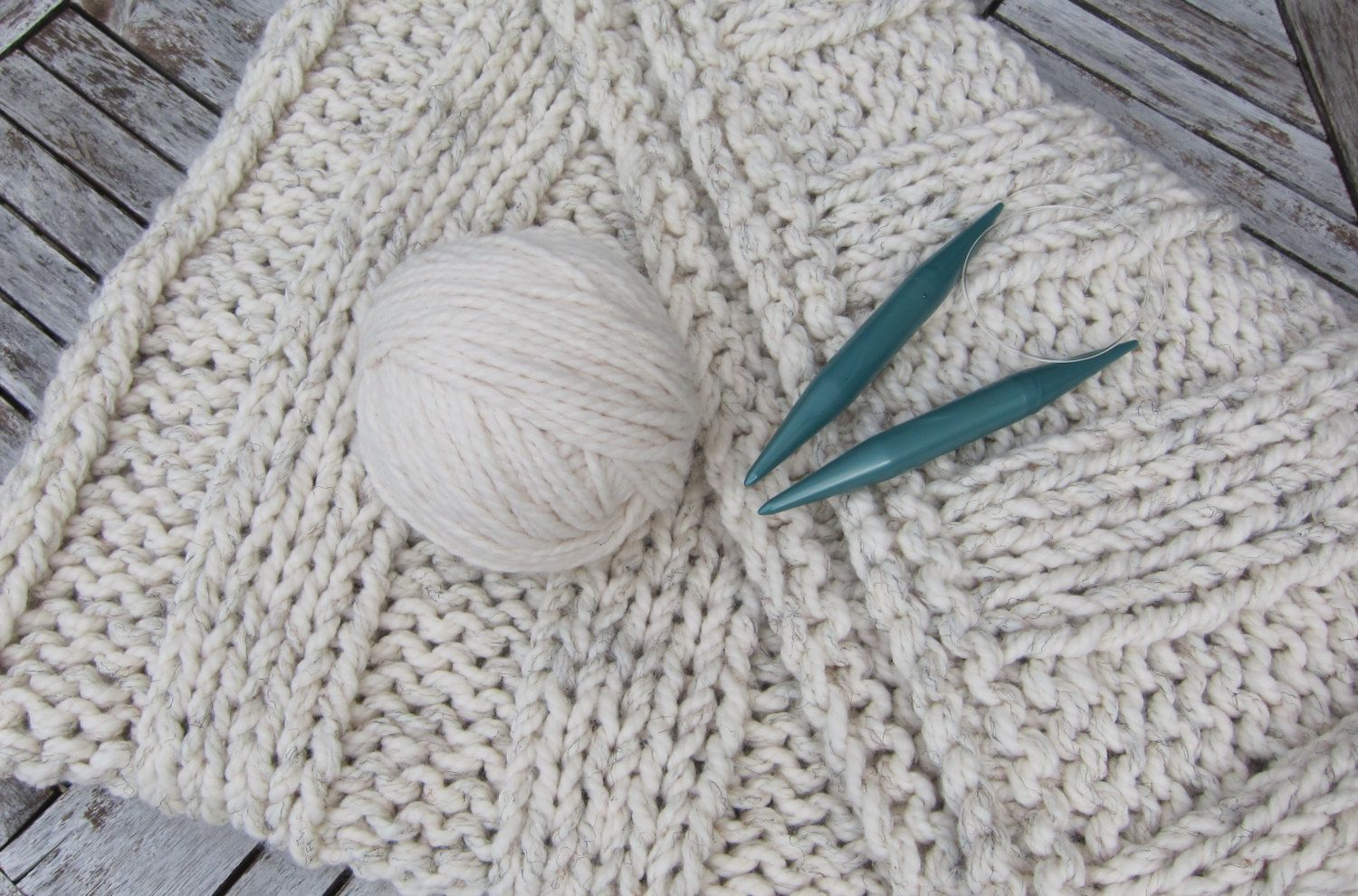 Knitting Kit DIY Chunky Throw Knit Your Own Blanket with super bulky ...
