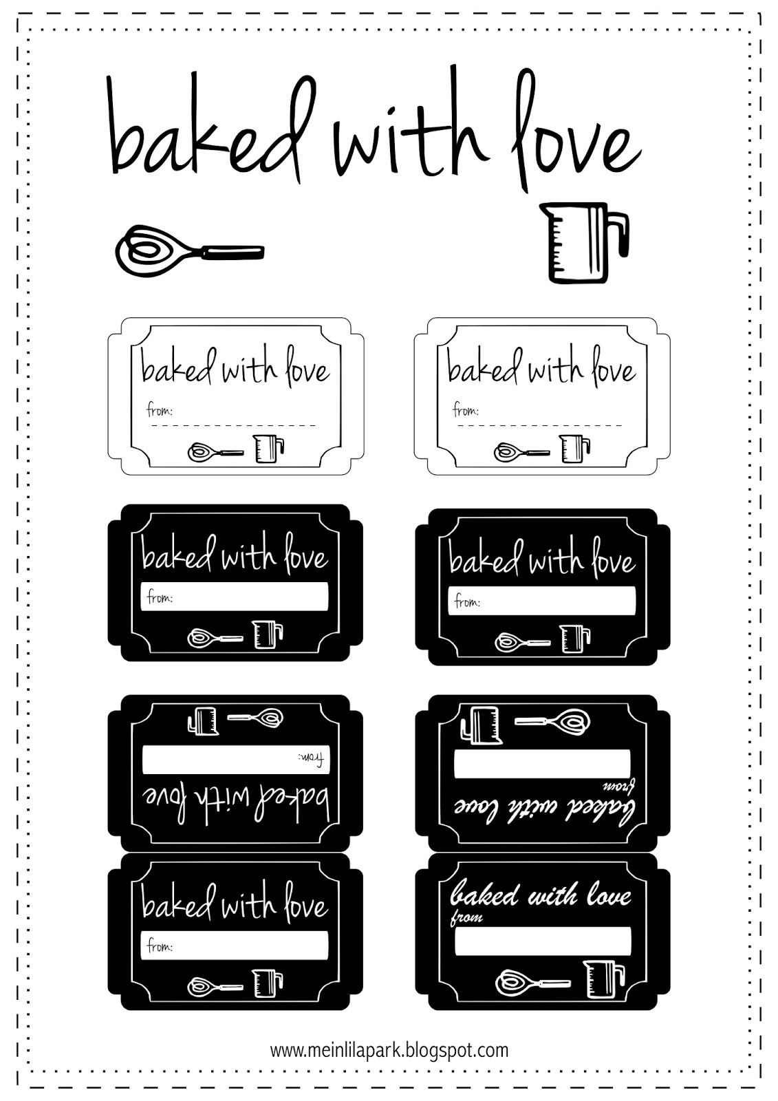picture about Jar of Nothing Printable Label Free called absolutely free printable baked with appreciate tags - ausdruckbare Etiketten