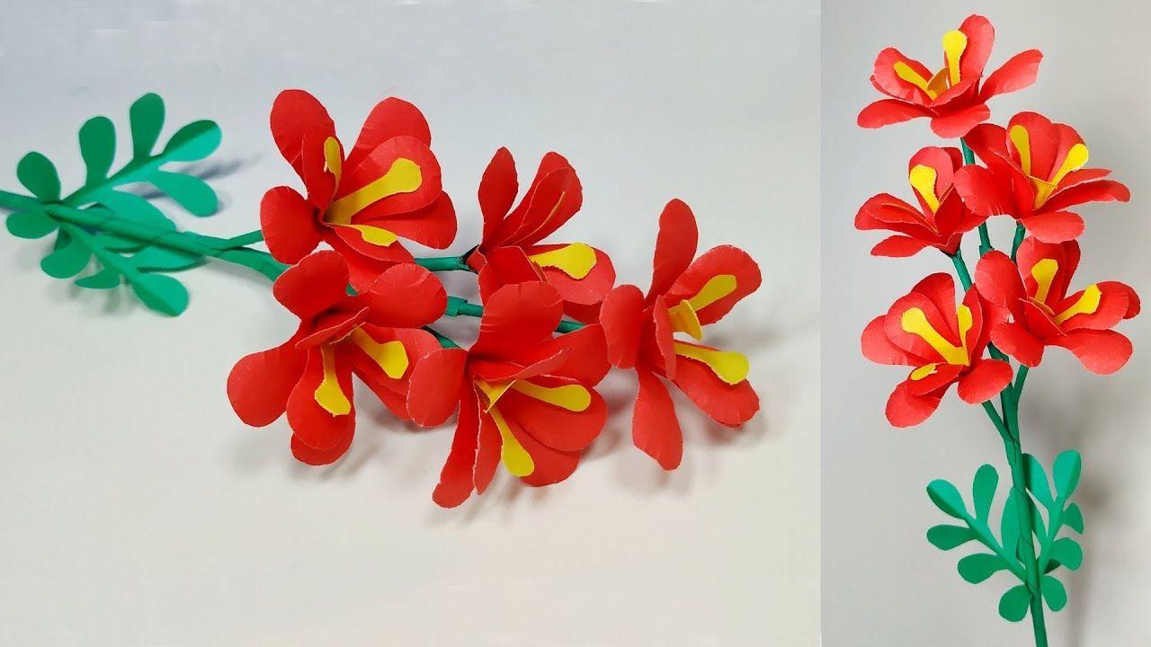 Beautiful Paper Stick Flower Making Idea Diy Paper Craft Paper