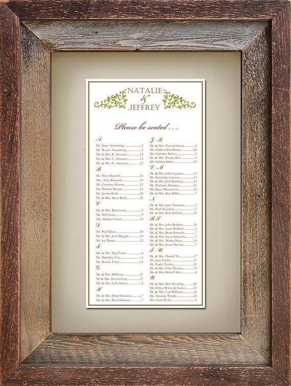 Flourish Seating Chart / Table Assignment for your Wedding