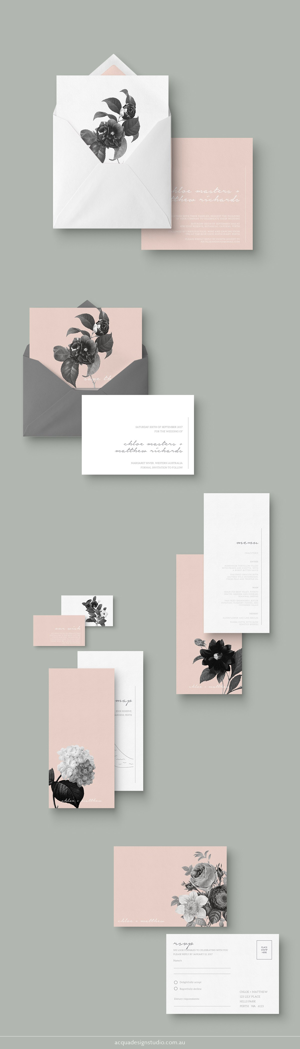 Old Romance Wedding Invitation Suite, available for purchase from ...