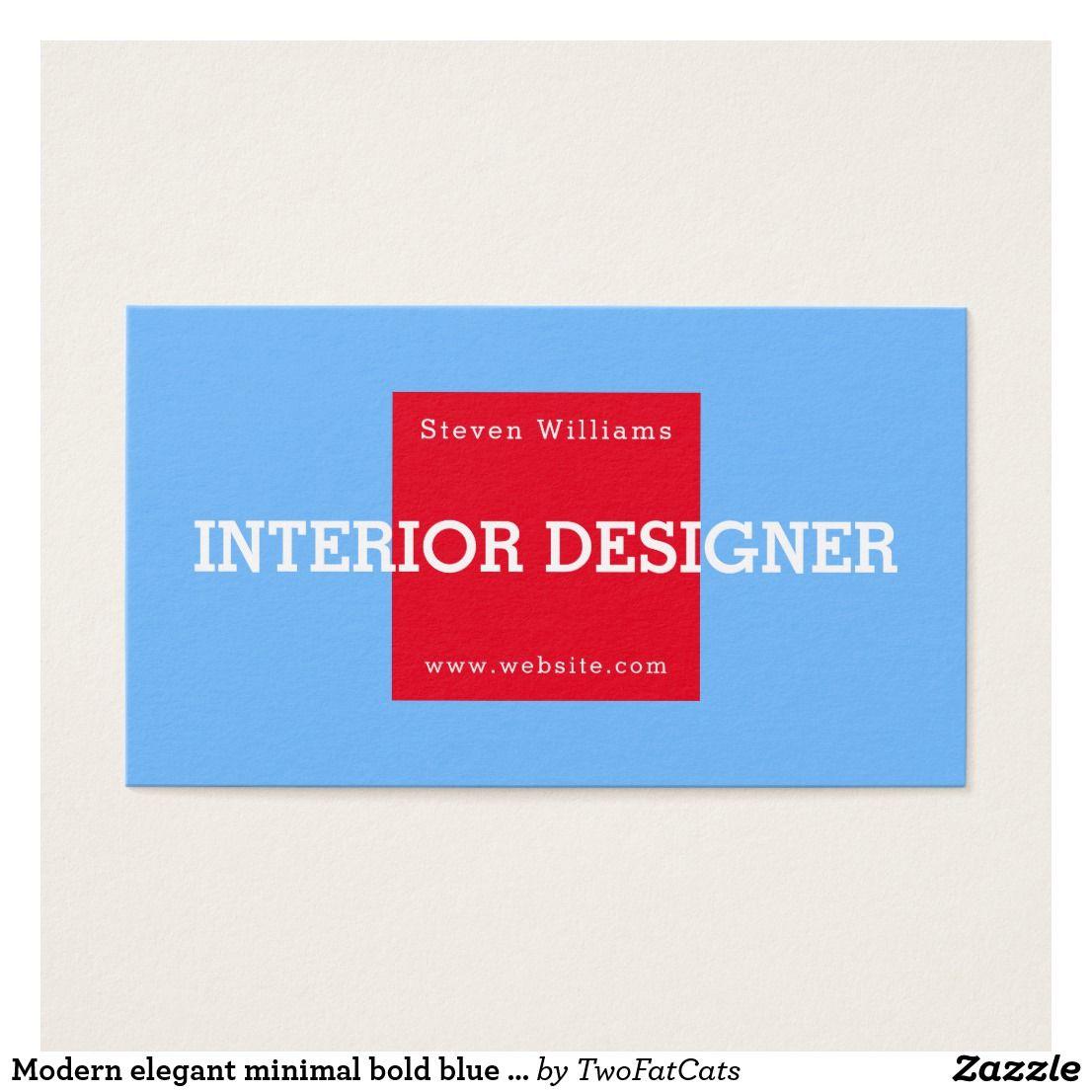 Modern elegant minimal bold blue red business card