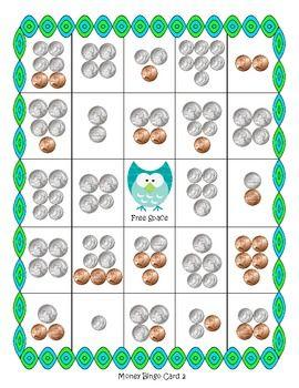 image relating to Money Bingo Printable named Revenue Bingo toward $1.00 - Owl Topic Education Suggestions Economical