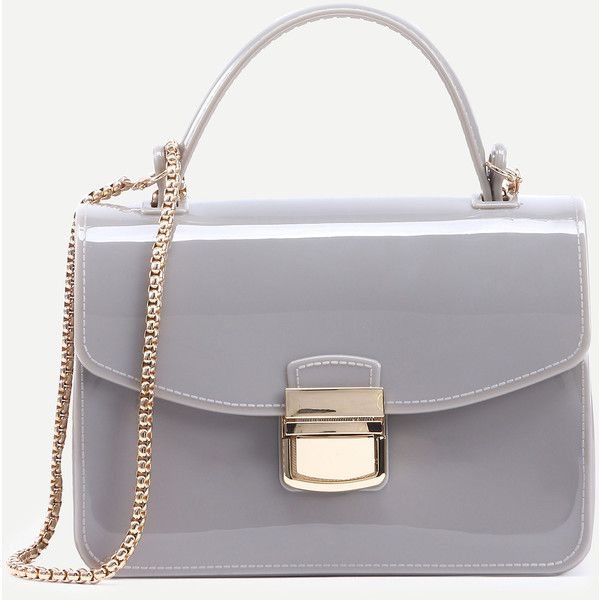 Light Grey Pushlock Closure Plastic Handbag With Chain Online Shein Offers More To Fit Your