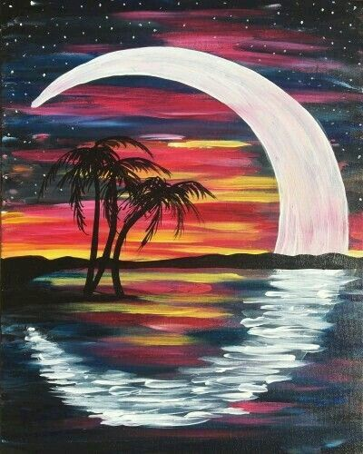 Palm Tree Sunset Tropical Painting Moon Painting Art Painting