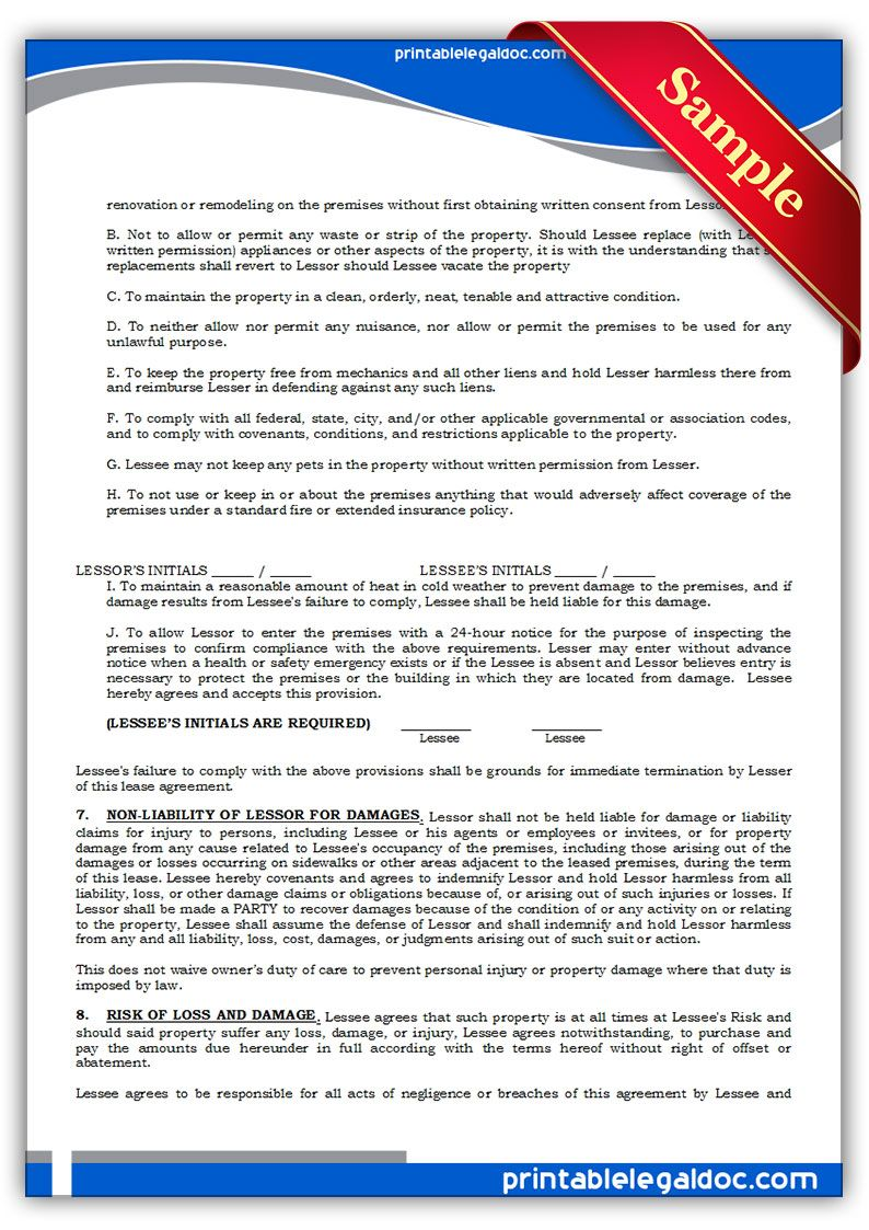 Printable Sample Standard Rental Agreement Form  Lease Purchase