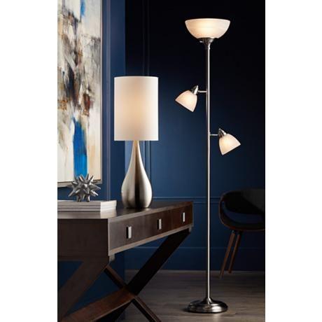 Ellery Brushed Nickel Tree Torchiere 3 Light Floor Lamp 1y326 Lamps Plus Cool Floor Lamps Nickel Table Lamps Torchiere Floor Lamp