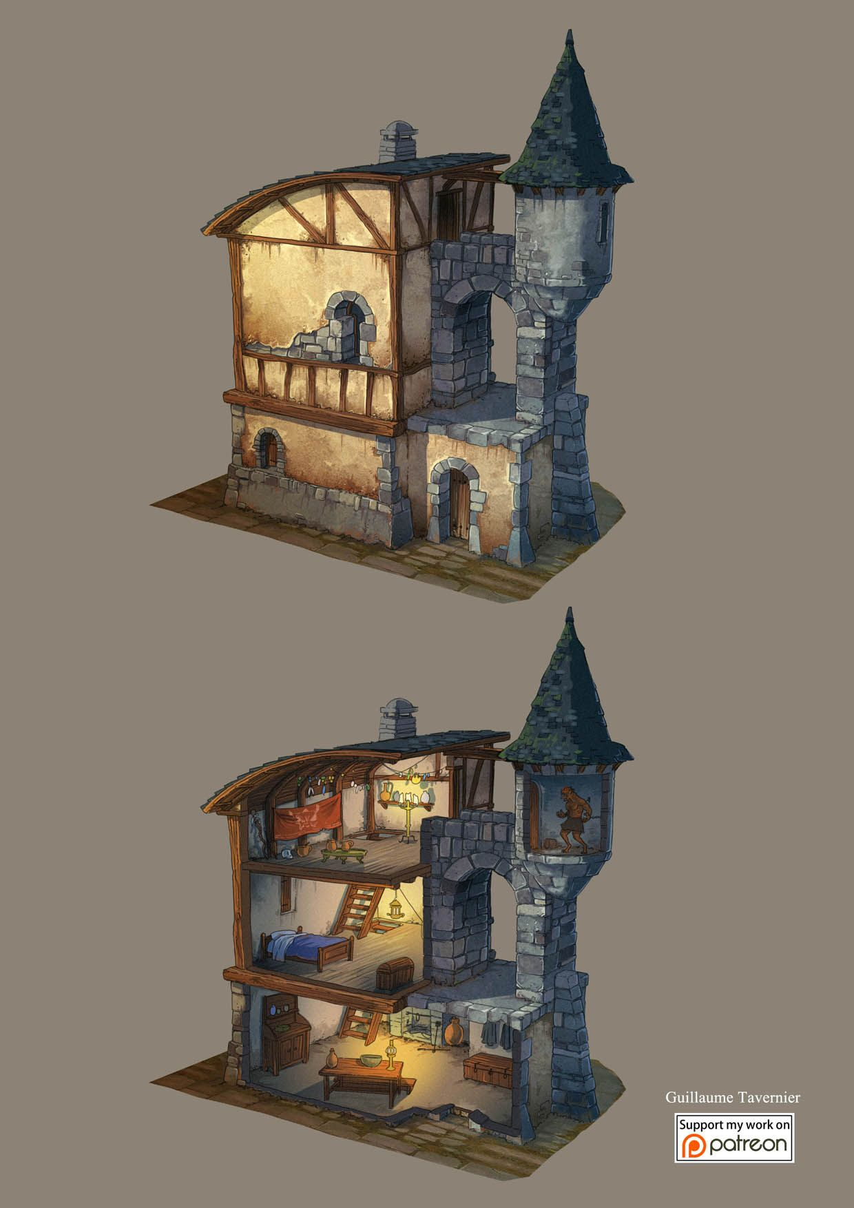 Maison En Ruine Dessin fantasy maps guillaume tavernier | dessin batiment