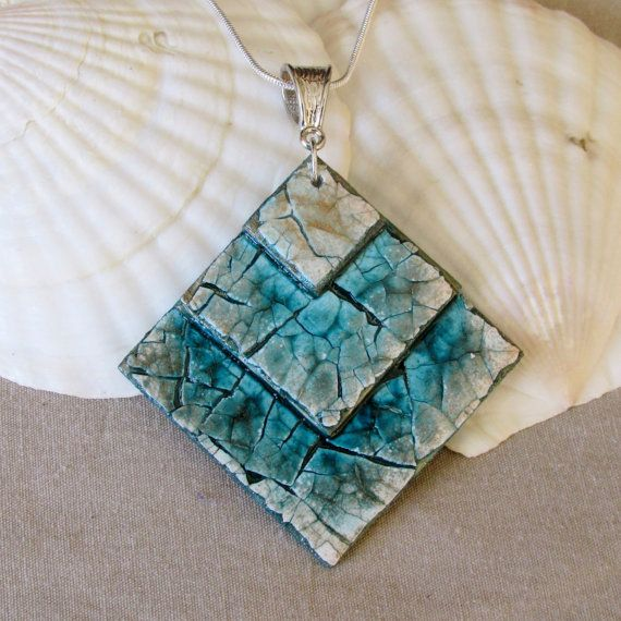 "Egg Shell Pendant Mosaic Pendant Handmade by LallyBrochFarm, $25.00 ""Tidal Ingress"" This piece reflect the waves crashing into the shore as the tide comes in. This is a sister piece to Ebb Tide which reflects the waves receding from the shore. These two pieces are the perfect compliment of one another and are my very favorite pieces."