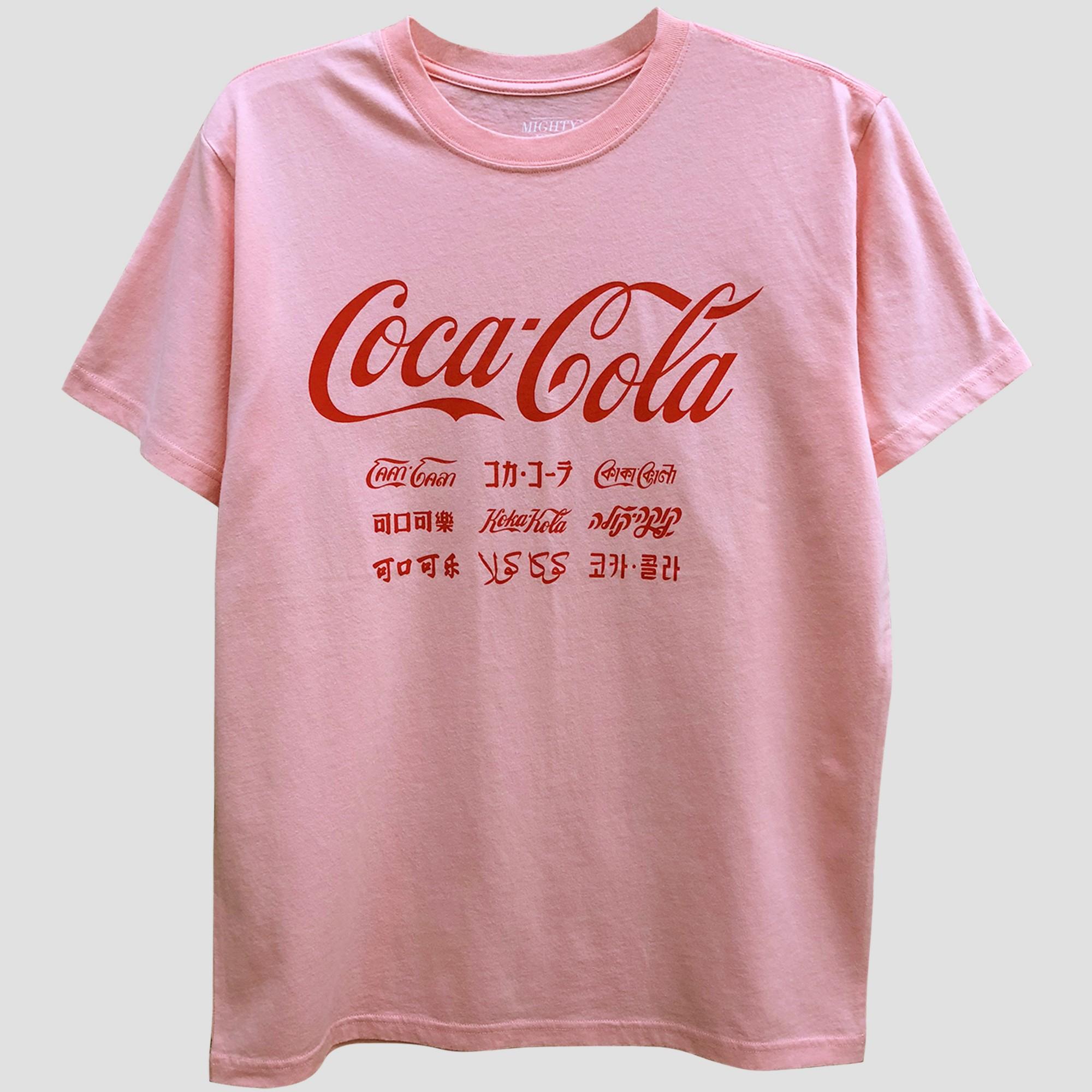 11e73d7dab9 Women s Coca-Cola Short Sleeve Boyfriend Graphic T-Shirt (Juniors ) Blush  L