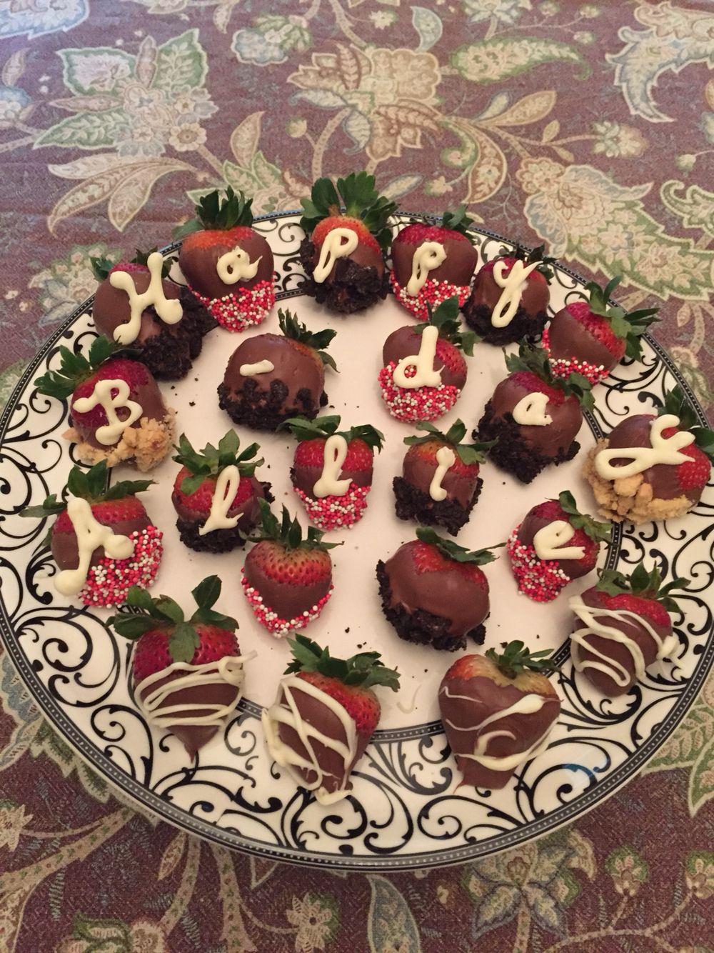 Birthday chocolate covered strawberries chocolate