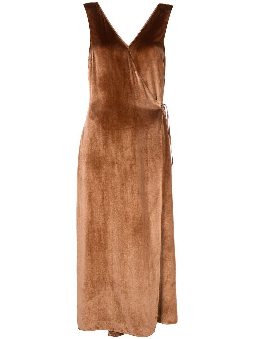 Vince V Neck Wrap Dress Farfetch Velvet Wrap Dress Wrap Dress Velvet Midi Dress [ 1334 x 1000 Pixel ]