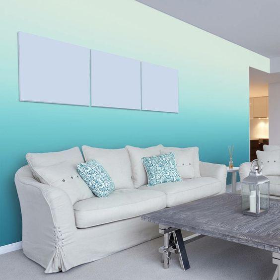 Wohnzimmer Wandgestaltung mit Farbe-Ombre Wand streichen Betten