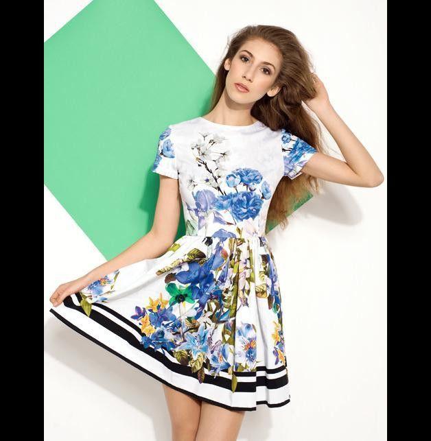 BLUE FLORAL DRESS - projectMESS - Sukienki bombki