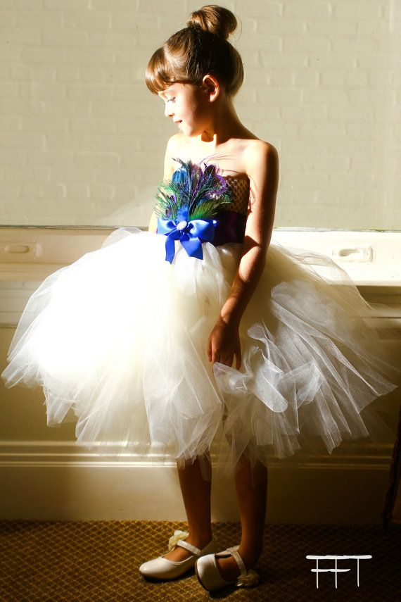 0256be8bb1cd Ivory Peacock Feather Flower Girl Dress (purple blue)