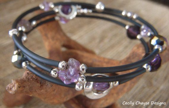 Purple and Black Rubber Tubing Three Wrap by CecilyChayseDesigns, $27.00