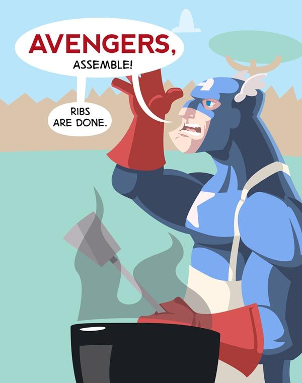 It's BBQin' Time. Deep down inside, Captain America had always wanted to be.. the next Iron Chef. (Image Source: HeroGear)