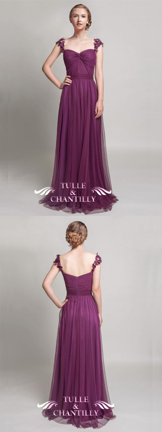 fall eggplant sweetheart tulle bridesmaid dresses with floral straps