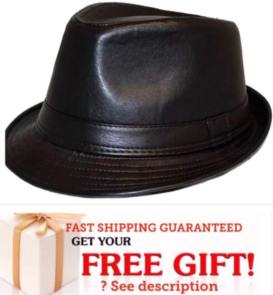 5bea067cce5 Men Black PUNK FAUX Leather Cuban Fedora Trilby Gangster Cap Hat Valentines   Unbranded  FedoraTrilby