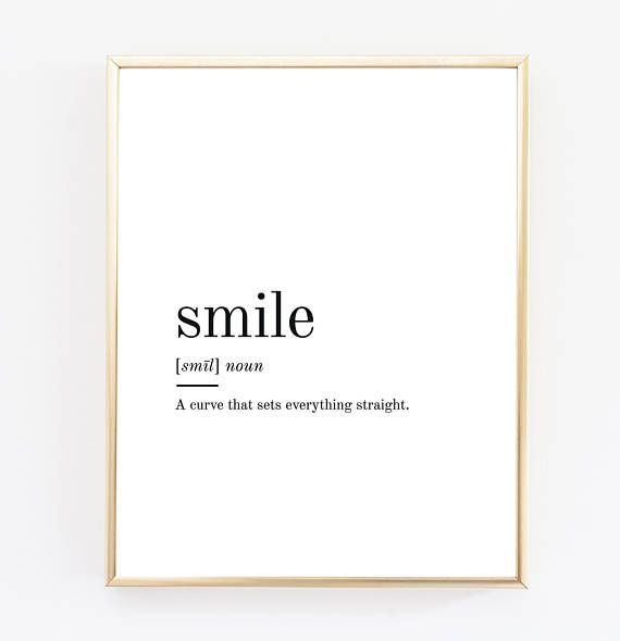 graphic about Printable Definitions identify Smile Definition Printable Wall Artwork Smile Print Smile Term