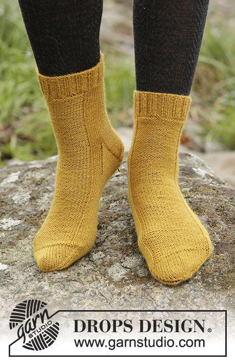 Mustard Toes / DROPS Extra 0-1365 - Strikkede DROPS sokker i Fabel ...