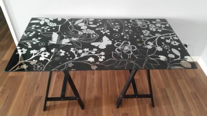 Bon IKEA Desk Glass Glasholm Butterfly Glass Table Top, Excellent Condition, No  Scratches Etc Legs