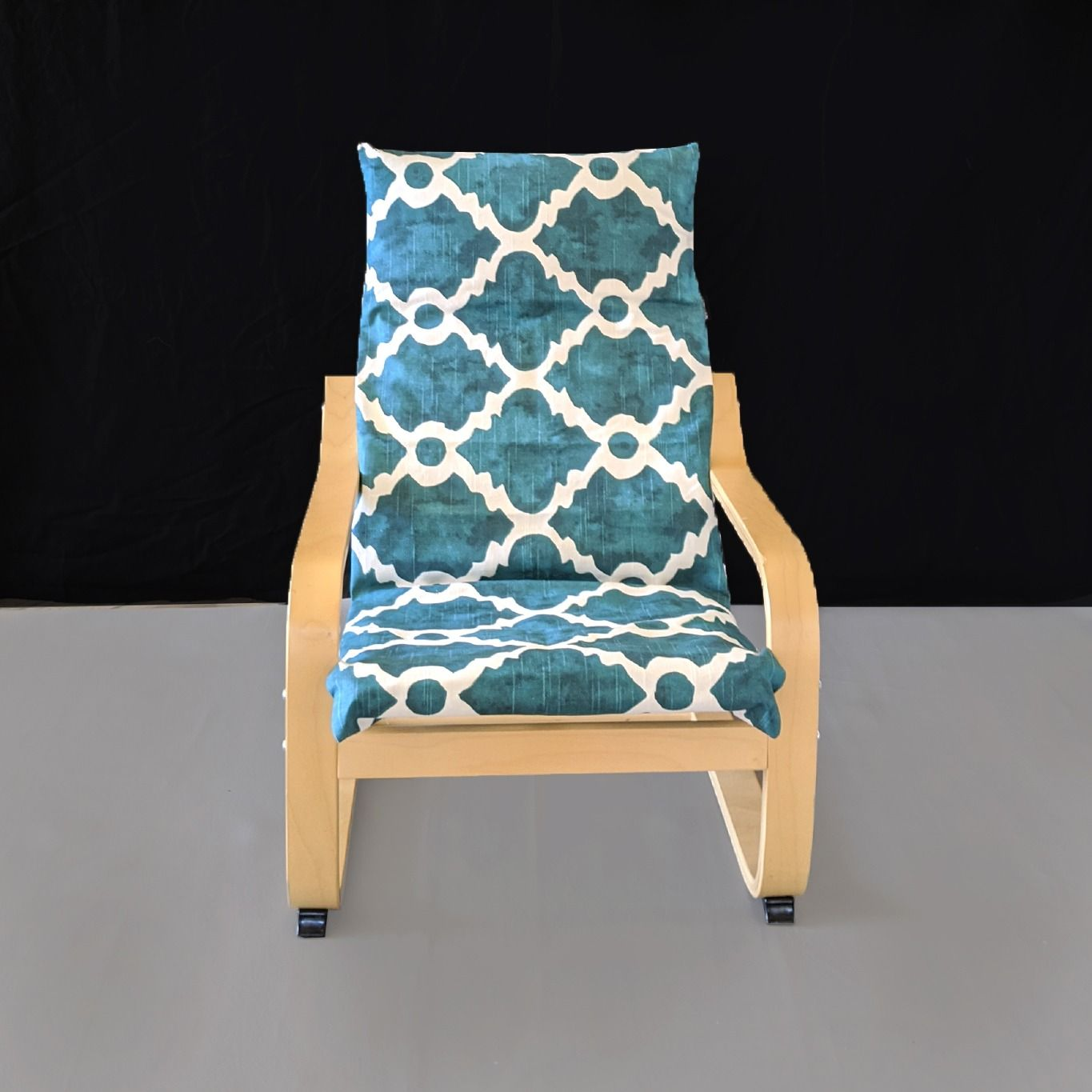 Teal Blue Patterned Child S Ikea Poang Seat Cover In 2020 Ikea