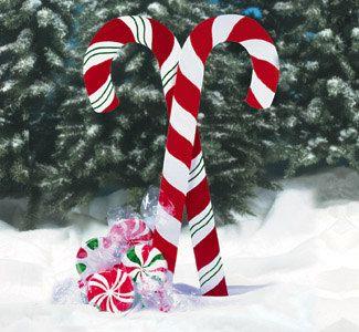 Christmas Large Candy Canes Wood Yard Art 40 00 Via Etsy Christmas Yard Art Outside Christmas Decorations Christmas Decor Diy