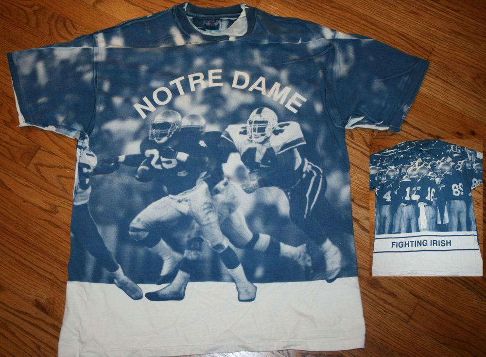 374ba64b8 Notre Dame Football T-Shirt Men XL irish blue photo print all over vintage  rare  Hanes  NotreDame