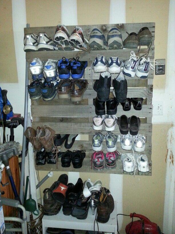 Pallet shoe rack garage pinterest