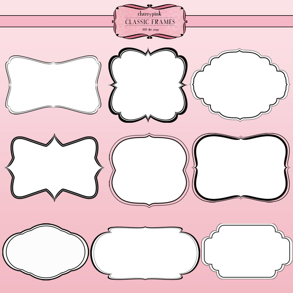 18 scrapbook frames png files digital by cherrypinkprints on etsy 350
